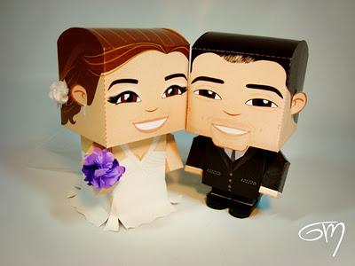 Noivinhos de caixinhas (adorei eles fazem personalizados com os detalhes mesmo da noiva e do noivo) da Paper Toys