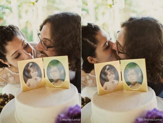 Topo de bolo vintage - vocês que acompanham também nosso facebook já devem ter visto ele por lá - com as fotos dos noivos quando crianças