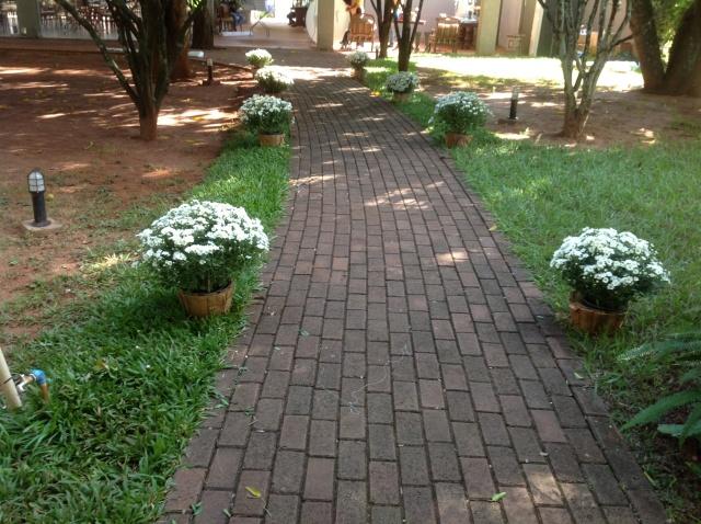 O caminho de tijolinhos foi mantido,e não coberto com tapete - o que eu achei maravilhoso!