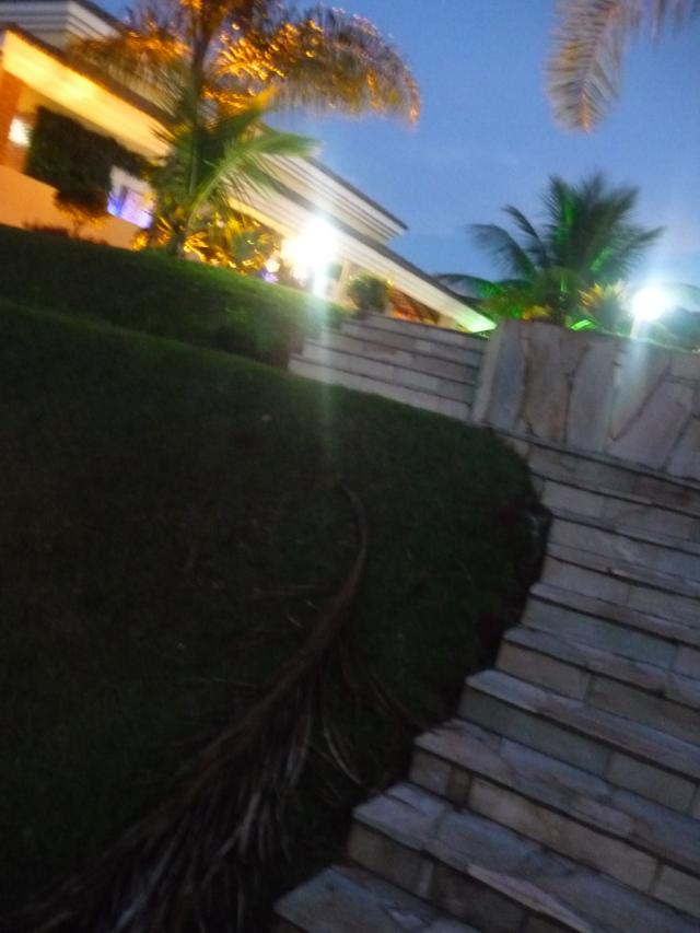 A escadaria que dá para a área gramada.