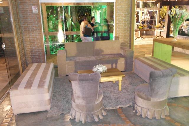 O lounge montado na entrada